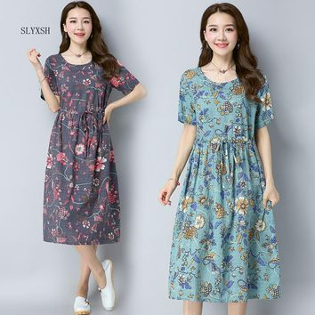 SLYXSH New Waist Floral Printed Linen Maternity Dress 2018 Spring Summer Fashion Clothes for Pregnant Women Pregnancy Dresses