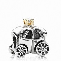 PANDORA Charm - Sterling Silver, 14K Gold & Freshwater Pearl Royal Carriage
