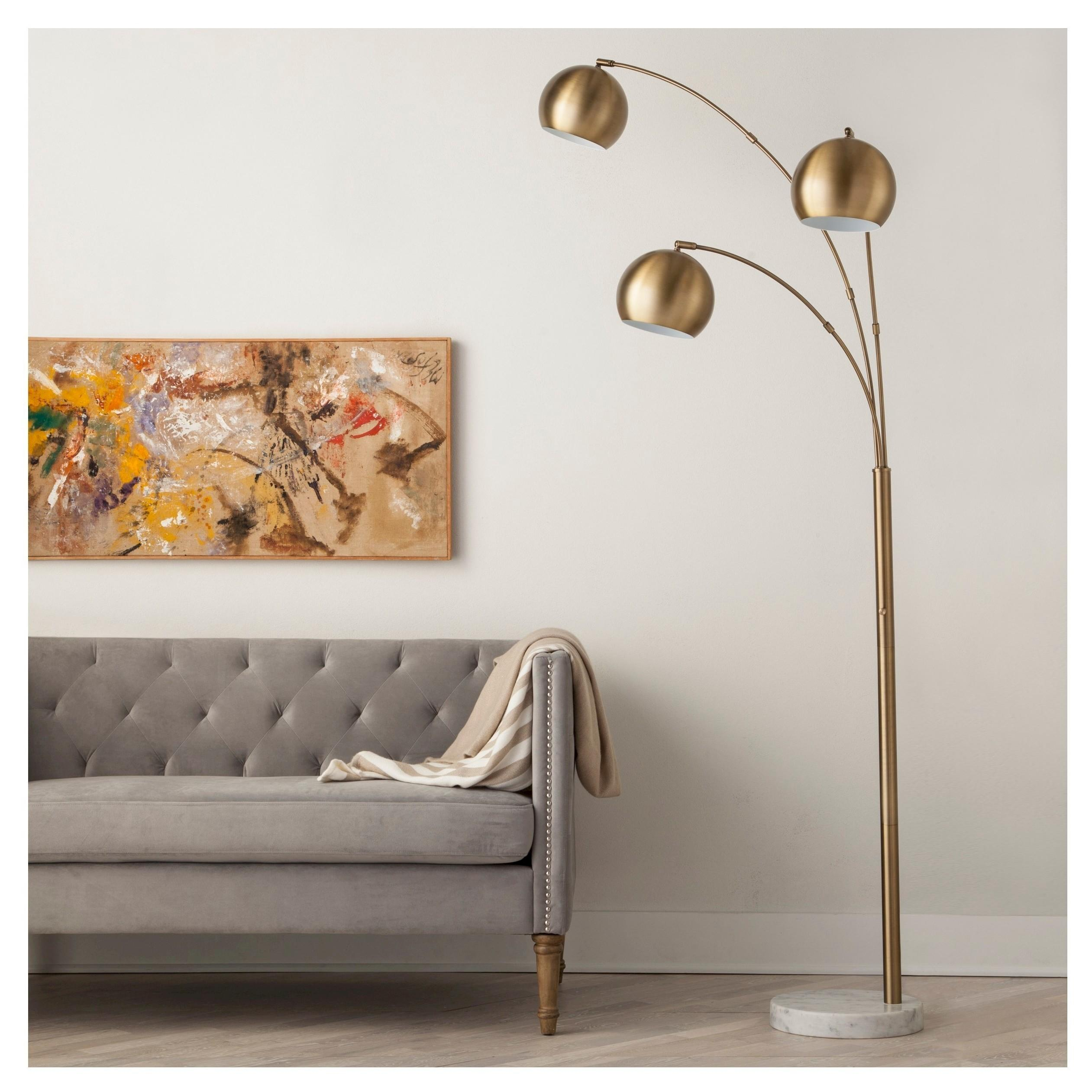 3 globe arc floor lamp antique brass from target housewares aloadofball Gallery