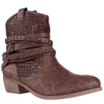 Not Rated Vanoora Braided Strap Cutout Western Ankle Boots, Tan, 7.5 US / 38.5 EU