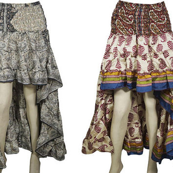 Womens 2pc Hi Low Skirt Recycled Vintage Sari Gypsy Fashion Ruffle Flirty Flare Summer Skirts S/M