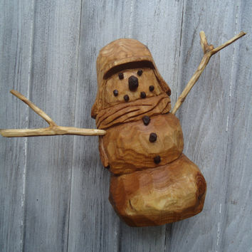 Hand carved wood snowman - Christmas decor - Home decor - Wood carving - Wooden snowman - Office decor - Red Elm wood snowman - Wood artwork