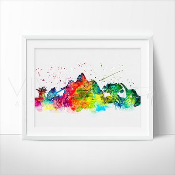 Animal Kingdom, Disney World Skyline Watercolor Art Print