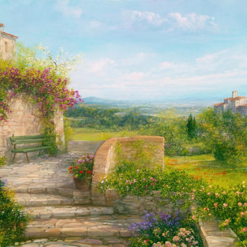 Big Italian painting quiet in Tuscany panorama landscape original oil canvas of Antonietta Varallo Italy