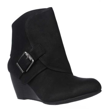 AR35 Coreene Cuffed Wedge Ankle Booties, Black, 5 US