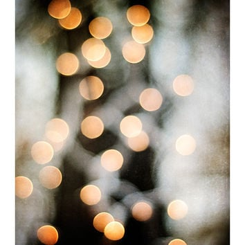 "Abstract Photography - lights wall art sparkle print black white gold orange dark brown circle picture modern, 8x10 Photograph, ""Glimmer"""