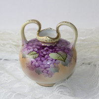 Vintage Squat Double Handled Porcelain Vase Violet Design Soft Colors Purple Lavender Green Gold , Porcelain Vase with Violets , Shabby Chic