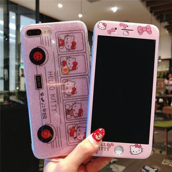 For iPhone 8 8Plus bling KT Case + Tempered Glass Screen film , Cute PInk Hello Kitty Soft Cover for iPhone 6 6S 6plus 7 7plus