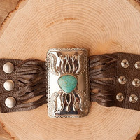Silver Concho with Turquoise Inlay