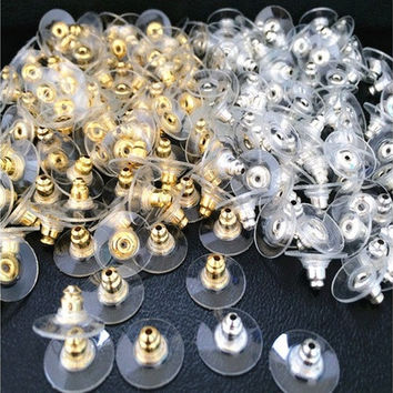 100Pcs Applied Silver Golden Tone Earnuts Earring Backs Stoppers Jewelry Findings New [9324865156]