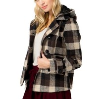 Riley Double Breasted Plaid Coat