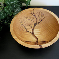 Beechwood Pyrography Wooden Bowl - Rising Tree - Wedding Gift,  Salad Bowl