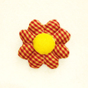 Rustic flower pin brooch broach hair clip ornament gingham pattern rusty red yellow hand-sewn with yellow felt applique center accessory