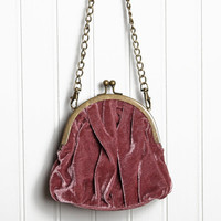 valentina velvet crossbody coin purse in mauve - $28.99 : ShopRuche.com, Vintage Inspired Clothing, Affordable Clothes, Eco friendly Fashion