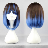 New arrival popular 40cm Long Color Mixed u part wig ombre color anime wig lolita wig,Colorful Candy Colored synthetic Hair Extension Hair piece 1pcs WIG-273A