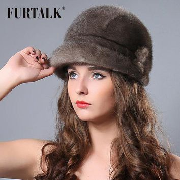 ONETOW FURTALK russian winter real mink floppy bucket hat for women