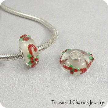 Candy Canes Murano Lampwork Glass Bead - 925 Sterling Silver European Bead Charm