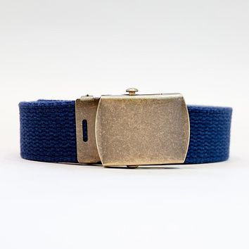 Navy Blue Cotton Web Military Belt