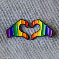 Rainbow Pride Heart Hands Enamel Pins - Set of Two