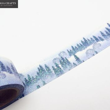 Washi Tape Glitter Snow Forest Stationery Decorative Scotch Tape Scrapbooking Photo Album School Tools Scrapbook Christmas