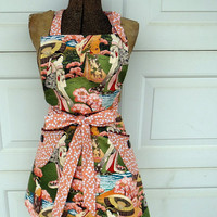 Womans Apron Reversible Full Apron in Peach and Japanese Print
