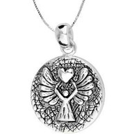"Sterling Silver ""Guardian Angel"" Reversible Angel Pendant Necklace, 18"""