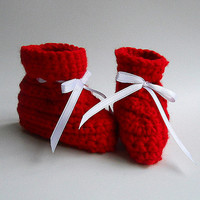 Christmas Red Baby Booties 6 - 9 Months Xmas  Slippers Boy Holiday Photo Prop  Children Infant Girl Winter Clothing