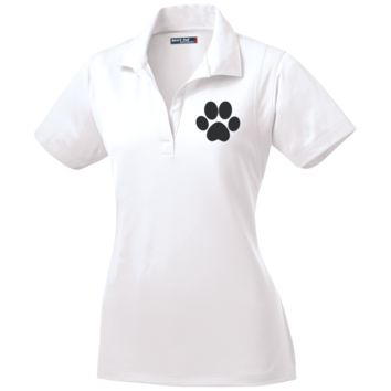 Paw Print Womens Micropique Tag-Free Flat-Knit Collar Polo