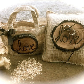 Rustic wedding bearer pillow flower girl basket burlap winter country fall weddings accessories