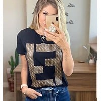 Fendi Women Letter Print Short Sleeve Top