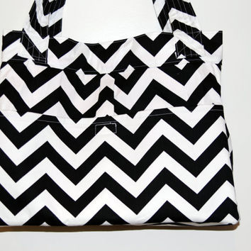 Black and White CHEVRON with PINK lining  LARGE square diaper bag