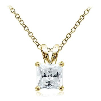 Gold Tone over Sterling Silver 4ct Cubic Zirconia 9mm Square Solitaire Necklace