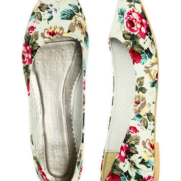 Jersey Floral Skimmer Flat - Teen Clothing by Wet Seal