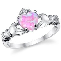 Sterling Silver 925 Irish Claddagh Friendship & Love Ring with Pink Simulated Opal Heart 8