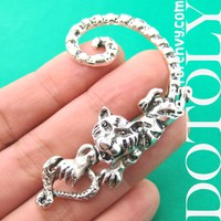 Tiger Realistic Animal Wrap Ear Cuff in Silver | DOTOLY