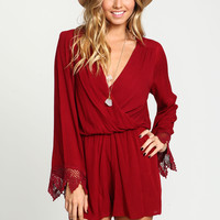 Burgundy Long Sleeve Crochet Romper