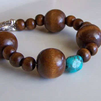 Etsy, Wooden Beaded Bracelet with Turquoise Nugget, Beaded Bracelet, Etsy Jewelry, Jewelry, Gift