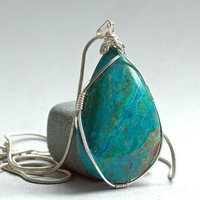 Chrysocolla pendant pear shape silver wire wrapped with a silver plated necklace