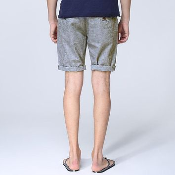 Summer Casual Men Short Pants Male Linen And Cotton Straight Skinny Short Cool Breathable Man Shorts