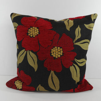 Red and Black Chenille Pillow Cover, Designer Cushion, Flowers, 16 x 16