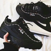 FILA Fashionable Women Men Casual Running Sport Shoes Sneakers Black