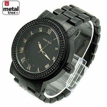 Jewelry Kay style Men's Hip Hop Heavy Analog Fashion Stainless Steel Metal Band Watch 1251 BK