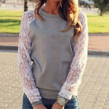 Lace Patchwork Sweatshirt