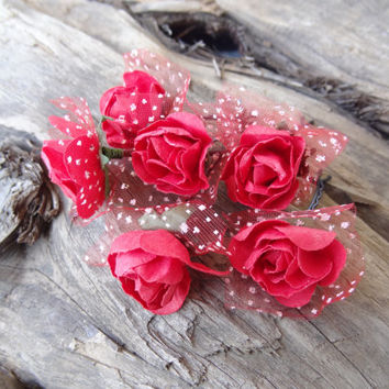Red Flower Wedding Hair Pins, Bridal Hair Pins, Hair Accessories, Fabric Hair Pins, Bridesmaid Hair, Woodland - Set of 6