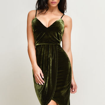 Alyssa Velvet Olive Dress