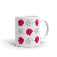 Flowery Coffee Mug with Pink Purple and White Flowers