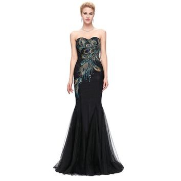 Peacock Evening Dresses Long Grace Party Dress