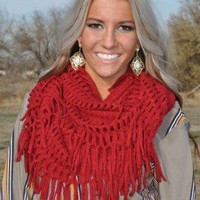 Red Crochet Detail Infinity Scarf