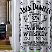 jack daniels logo white Shower Curtain
