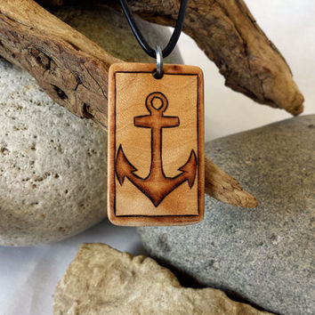 Anchor Necklace, Anchor Pendant, Nautical Wood Necklace, Anchor Jewelry, Curly Maple